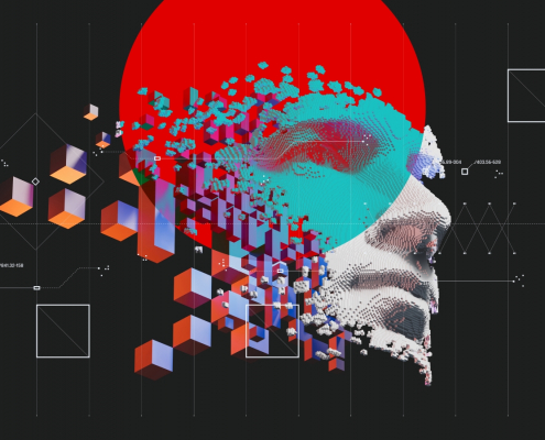 Image of face breaking into cubes, representing AI and Machine Learning